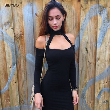 Long Sleeve Halter Slim Off  Shoulder Office Bodycon Dress