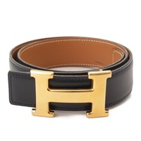 AUTHENTIC HERMES CONSTANCE LEATHER H BELT OY NAVY BROWN GRADE AB USED -AT