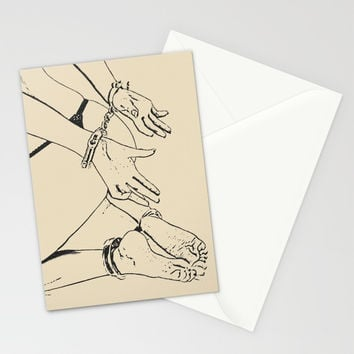 Playing with cuffs in simple black and white, submissive girl cuffed on the floor, sexy games of sub Stationery Cards by hmdesignspl