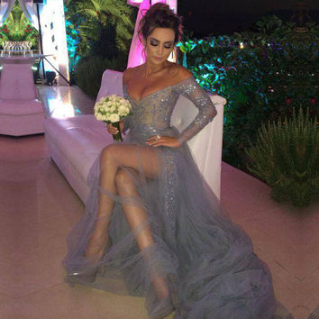 Sexy Detachable Train Sliver Prom Dress Beaded Lace V Neck High Slit Long Sleeve Tulle Prom Dresses Girls Prom Party Dress RM21
