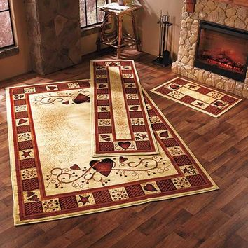 Rug Set Hearts Berries Country Rustic Primitive Cabin Farm Burgundy