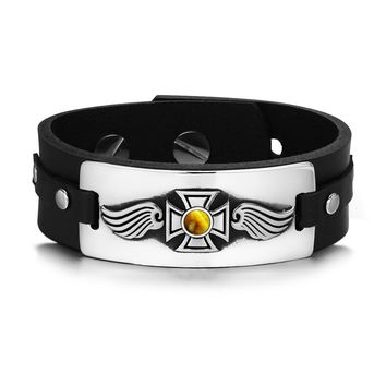 Guardian Angel Wings Viking Celtic Cross Magic Amulet Tiger Eye Gemstone Leather Bracelet