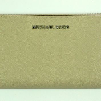 Michael Kors NEW Jet Set Travel ZA Continental Leather Purse Wallet Cement BNWT