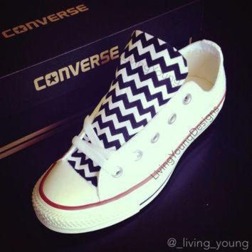 DCKL9 Custom Converse Low Top Sneakers Black White Chevron Chuck Taylors