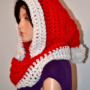 Crochet Hooded Winter Cowl/ Santa Cowl