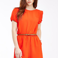 Belted Puff-Sleeve Romper