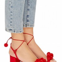 Red Tie Up Pom Pom Block Sandals - Choies.com