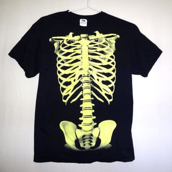 Vintage Glow in the Dark Skeleton T-shirt - Small -