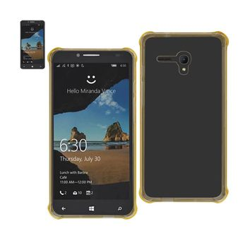 Alcatel One Touch Fierce Xl Clear Bumper Case With Air Cushion Protection (Clear Gold)