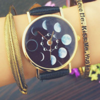 Black Faux Leather Moon Phase Watch