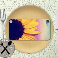 Sunflower Flower Purple Ombre Cute Tumblr Inspired Custom Rubber Case iPod 5th Generation and Plastic Case For The iPod 4th Generation