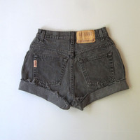 Vtg 90s High Waisted Cut Off Denim Shorts Mom Jeans Faded 6 Black 25""