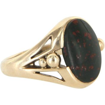 Vintage Mens Bloodstone 10 Karat Yellow Gold Oval Signet Ring Estate Fine Jewelry 7.5