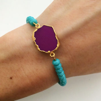 Under the Magenta Moon Bracelet- Purple Turquoise Stone with Turquoise Beads