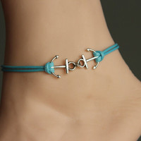 double anchor anklet/bracelet, navy anklet, silver charm anklet, sky blue wax cord,summer trending, lucky jewelry,personalized gift