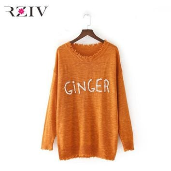 Ginger Frayed Trim Lighter Weight Knit Embroidered Hair Color Sweater