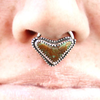 Royston Turquoise Septum Ring 14 Gauge .925 Silver
