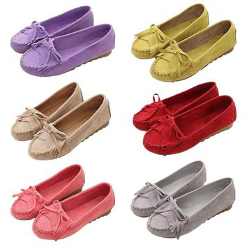 Spring Autumn Women Flat Shoes Casual Round Head Tassel Decoration Female Anti-Slip Loafers Leisure Slip On Shoes