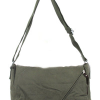 Canvas Messenger Bag with Front Zipper.  Cross Body. Olive Green.