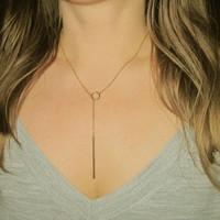 Gold Y Necklace / Bar Lariat / Circle Y Chain / Dainty Rosary / Minimal Y Necklace  / Minimslistic Layered Necklace / N116