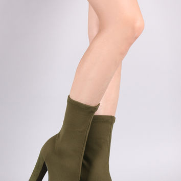Bamboo Ribbed Knit Pointy Toe Suede Chunky Heeled Booties | UrbanOG