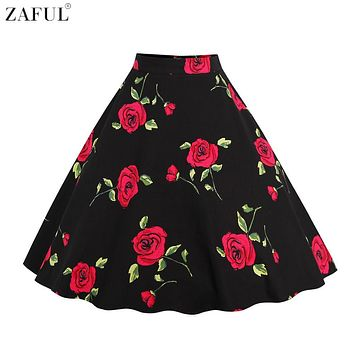 ZAFUL Women 60s Rose Floral Print Vintage Skirts Plus Size L~4XL Feminino Party Club Skirts A Line High Waist Office Work Skirts