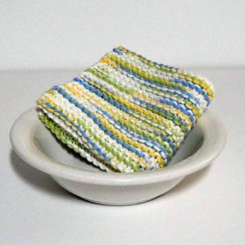 Hand Knit Cotton Dishcloth in shades of yellow, green, blue and white,  Large Hand Knit Cotton Washcloth, mix and match to make a custom set
