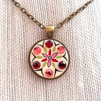 Rhinestone Pendant Necklace, Hand Painted Jewelry, Rhinestones Jewelry, Handmade Necklace, Bohemian Necklace, Gifts for Her