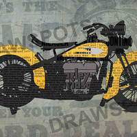 Harley Davidson Newspapers, Art Print 12x7.50in to 60x41in, Motorcycle Art print, big size print, large wall print, office decor
