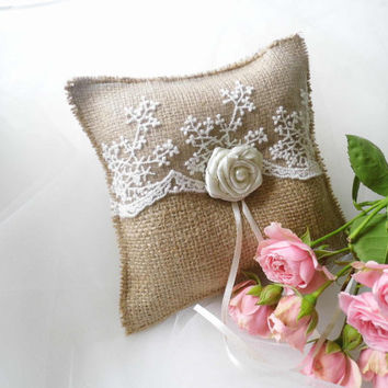 Best Burlap And Lace Ring Pillow Products on Wanelo