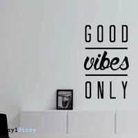 """Inspiring Typography Wall Decal Quote """"Good Vibes Only"""" 26 x 16 inches"""