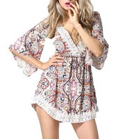 Women V-neck Half Sleeve Playsuit Print Beach Loose Lace Jumpsuit Shorts One Piece