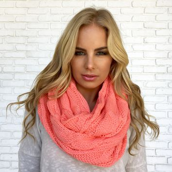 Cozy Knit Infinity Scarf in Coral