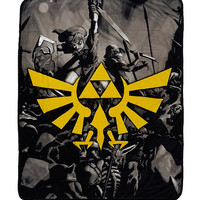 The Legend Of Zelda Black & White Triforce Throw