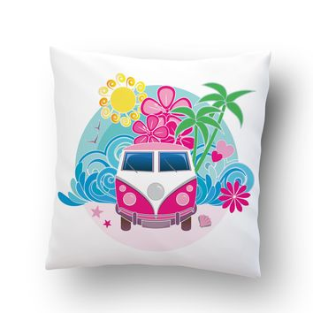 Surf Bus on Beach Throw Pillow Case from Surfer Bedding