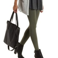 Olive Ankle Length Stretch Cotton Leggings by Charlotte Russe