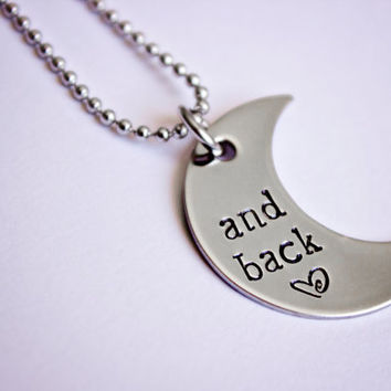 And back moon shaped hand stamped stainless steel necklace by StampedMemoriesbyMel on Etsy