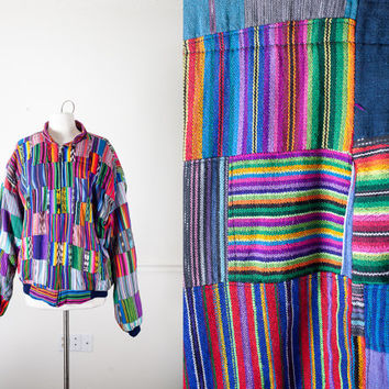 Rainbow Guatemalan Jacket | Vintage Patchwork Jacket 90s Jacket Soft Grunge Ethnic Patchwork Coat Bomber Jacket Tribal 90s Coat Boho