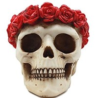 """Atlantic Collectibles Day of The Dead Red Rose Laurel Flower Wreath Sugar Skull Figurine Decor 4.5""""L"""