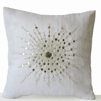 Pure Silk Silver Starburst -Sheesha Pillows -Gift -Mirror Pillow -18x18-Ivory Pillow