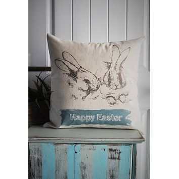 Easter Pillow Cover, Spring pillow, Happy Easter, Rabbit pillow cover, bunny pillow cover, 18x18