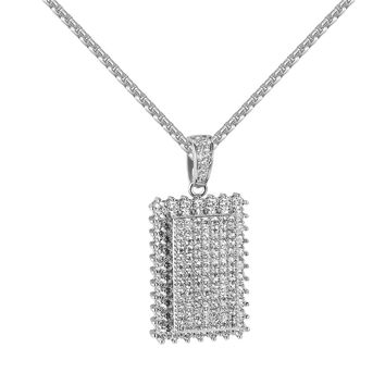 Iced Out Dog Tag Style Pendant Lab Diamonds Solitaire Prong Set White Gold Finish Chain