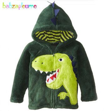 babzapleume autumn winter baby boys jackets kids clothes warm soft Flannel hooded cartoon infant coats children clothing BC1516