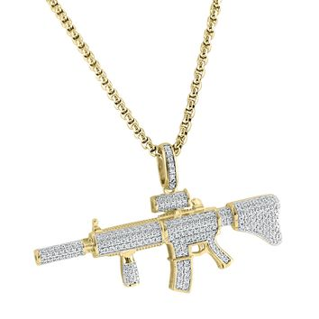 "Men's Hot Hip Hop Designer Silver AK 47 Machine Gun Iced Out Pendant Free 24"" Box Chain"