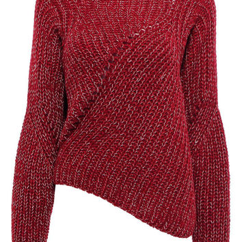 Red Jumper with Asymmetric Hem