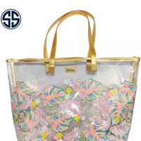 Simply Southern Leaf Beach Bag - Pink