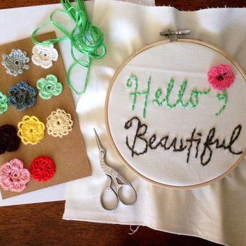 hello beautiful floral hand embroidery hoop art, vintage, retro, floral embroidery, decor wall art