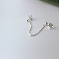 Sterling Silver Cartilage Chain - Sterling Silver single cartilage, Helix stud, Cartilage earring, Tragus