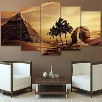 High Quality HD Printed 5 Pieces Canvas Egyptian Pyramids Oil Painting Sunset Desert Wall Pictures for Living Room