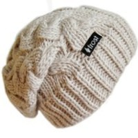 Happy Fashionable Deals! - Frost Hats Winter Hat for Women BEIGE Slouchy Beanie Cable Hat Knitted Winter Hat Frost Hats One Size Beige